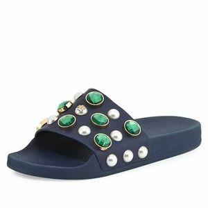 NIB Tory Burch Vail Jeweled Leather Slide Sz 8